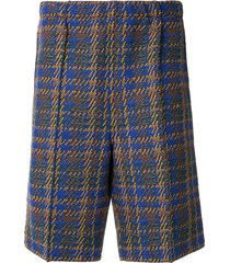coohem madras tech elasticated tweed shorts - brown