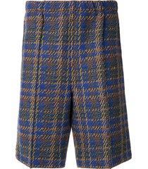 coohem madras tech elasticated tweed shorts - brown