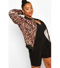 plus leopard print bomber jacket, brown