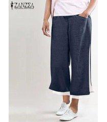 zanzea elástico de las mujeres cintura ancha piernas mdi pantorrilla pantalones casuales pantalones sueltos llanura -azul marino
