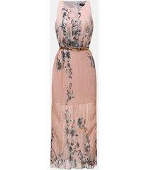 zanzea vestido largo sin manga gasa flor playa casual -rosa