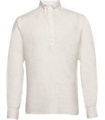 luxe linen popover shirt overhemd casual crème eton