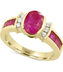 amore by effy certified ruby (2-1/5 ct. t.w.) and diamond (1/8 ct. t.w.) ring in 14k gold, created for macy's
