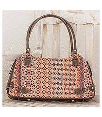 leather accent cotton shoulder bag, 'geometric imagination' (guatemala)