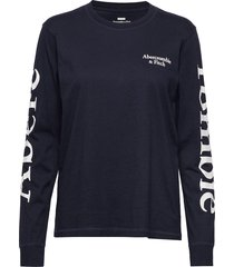 print logo tee t-shirts & tops long-sleeved blå abercrombie & fitch