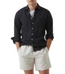 men's rodd & gunn seaford linen button-up shirt, size large - black