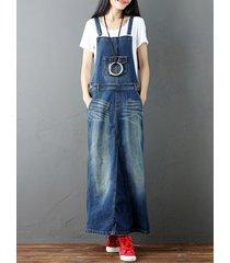 vestiti del denim blu scuro della cinghia dell'annata per le donne