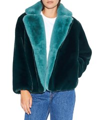apparis women's kendall faux fur short coat - emerald - size xs