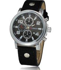 curren / 8199 reloj de hombre con correa de lona-negro