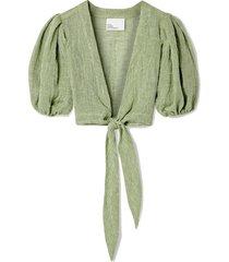 pouf cropped tie-front linen-blend gauze top