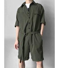 incerun hombres militar estilo bolsillos mamelucos cinturón suelto mono