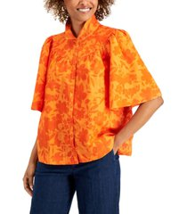 charter club petite oversized button-down top, created for macy's