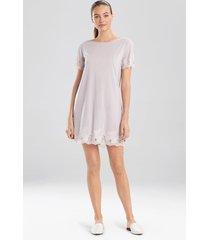 natori luxe shangri-la short sleeve sleepshirt pajamas, women's, silver, size l natori
