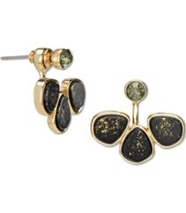 rachel rachel roy gold-tone crystal & gold-fleck black stone front-and-back earrings