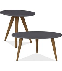 kit com mesa de centro e mesa de canto lateral lyam decor retrã´ preto - preto - dafiti