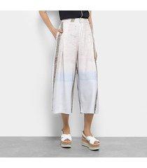 calça pantacourt forum estampada cintura alta feminina