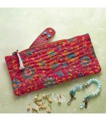 sundance catalog women's kantha stitchery zippered pouch