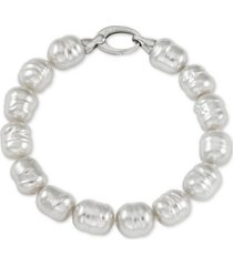 majorica imitation white baroque pearl (10mm) bracelet in sterling silver
