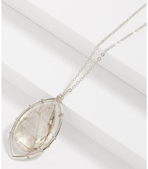 maurices womens caged stone pendant necklace gray