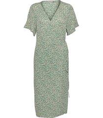 fralcrinkle 2 dress knälång klänning grön fransa