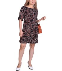ny collection petite belted bell-sleeve dress