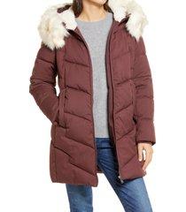 women's sam edelman faux fur trim quilted parka, size xx-large - burgundy