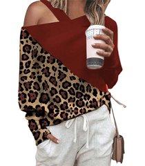 camicetta a maniche lunghe con spalle scoperte a spalline leopardate casual