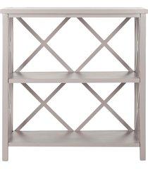 safavieh liam wooden two tier open bookcase - grey