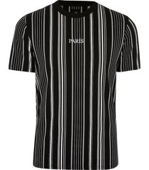 river island mens big & tall black stripe 'paris' t-shirt