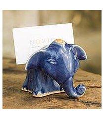 celadon ceramic business card holder, 'joyful blue elephant' (thailand)