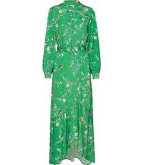 long dress w. belt in birdprint maxiklänning festklänning grön coster copenhagen
