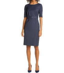 women's boss dasteria microcheck belted wool blend sheath dress