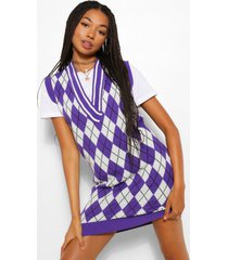 golf flannel knitted tank dress, purple