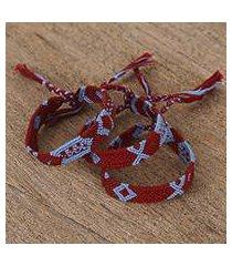 cotton wristband bracelets, 'geometric fusion' (set of 3) (mexico)