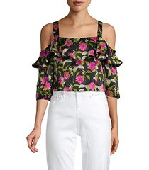 moody floral cold-shoulder silk top