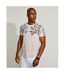 camiseta masculina slim caveira floral manga curta gola careca rosa claro