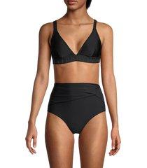 dkny women's logo triangle bikini top - black - size xs