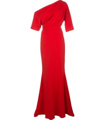 badgley mischka off-shoulder maxi dress - red