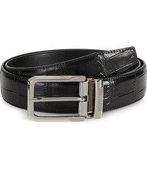 roberto cavalli men's croc-embossed leather belt - black - size 32