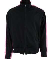 black and pink striped track jacket