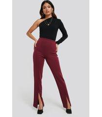 na-kd front slit zipper jersey skinny trousers - burgundy