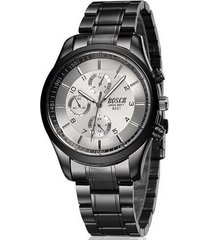 reloj cuarzo casual acero inoxidable bsk12 color negro blanco