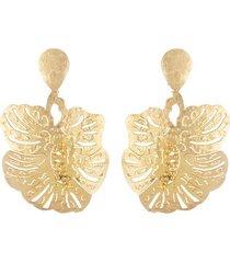 platedss oversized leaf earrings, women's, gold, size m, josie natori