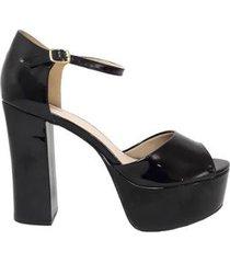 sandália demmi 1491027 verniz tamanho especial feminina - feminino