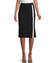 striped cotton-blend pencil skirt