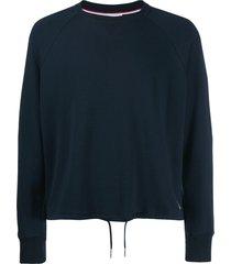 thom browne drawstring waist sweatshirt - blue