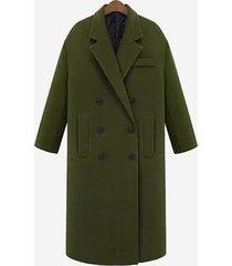 cappotto tascabile dritto tinta unita con bottoni manica lunga
