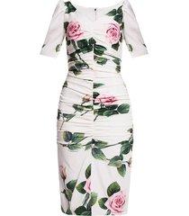 gathered patterned dress
