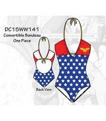 wonder woman stars logo convertible bandeau superhero 1 piece bathing swim suit