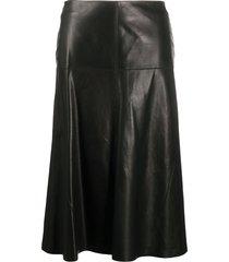 arma high-waisted leather skirt - black